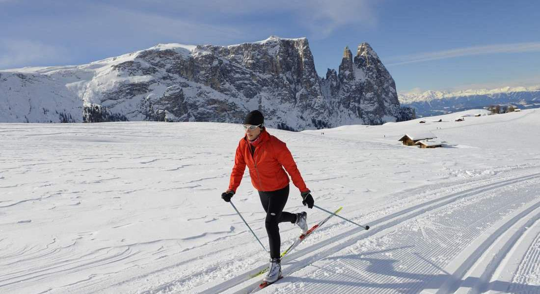 Cross-country skiing on the Seiser Alm